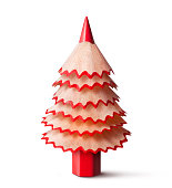 Christmas tree made with a pencil and its wooden shavings.