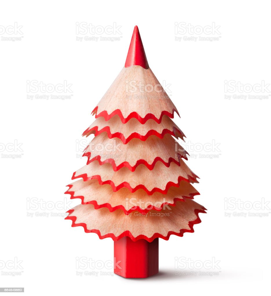 Christmas tree made with a pencil and its wooden shavings. stock photo