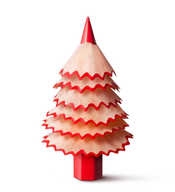 christmas tree made with a pencil and its wooden shavings. - pencil stock photos and pictures