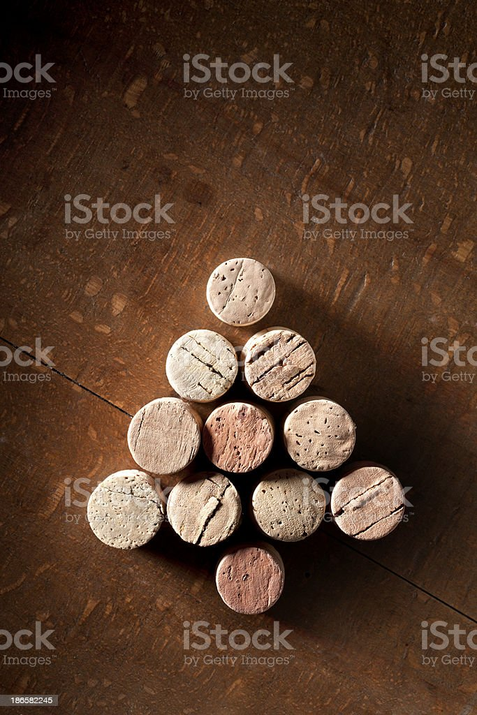 Christmas tree made with wine corks royalty-free stock photo