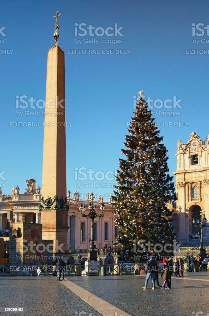 Christmas tree near the Vaticano Egyptian Obelisk at St. Peter\'s...