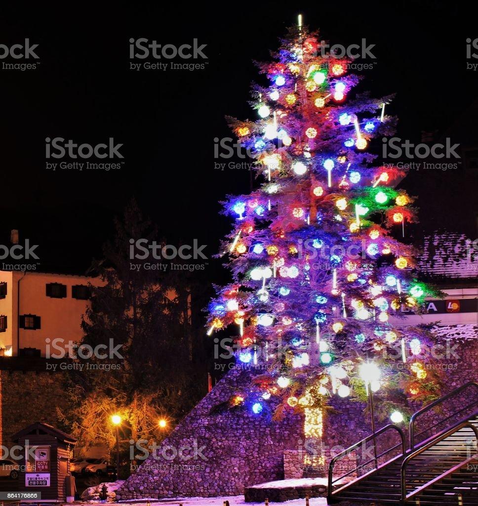 Christmas tree night city landscape royalty-free stock photo