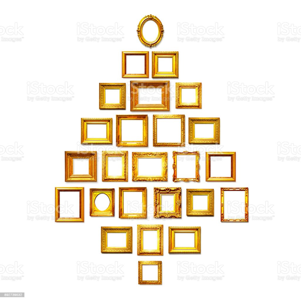 Christmas tree of antique golden frames stock photo