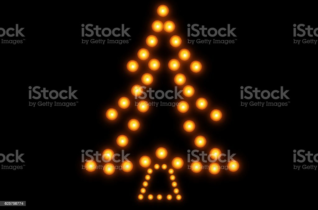 Christmas tree of burning candles stock photo