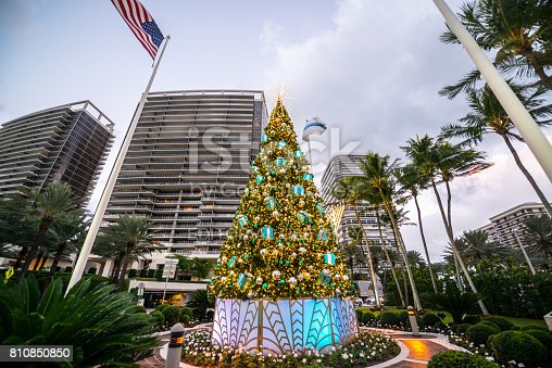 Christmas Tree On Collins Avenue Miami Beach Usa Stock