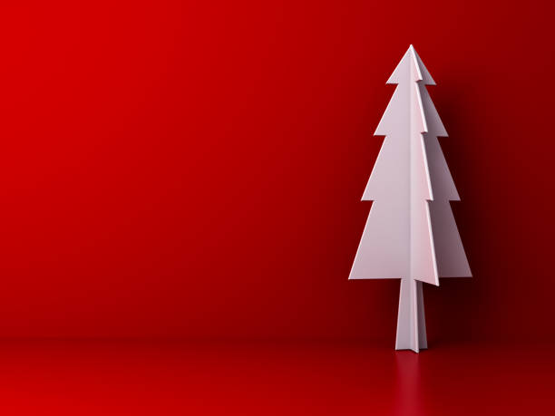 weihnachtsbaum auf dunkelrote farbe hintergrund für weihnachts-dekoration mit leerzeichen. 3d render - popup cards stock-fotos und bilder