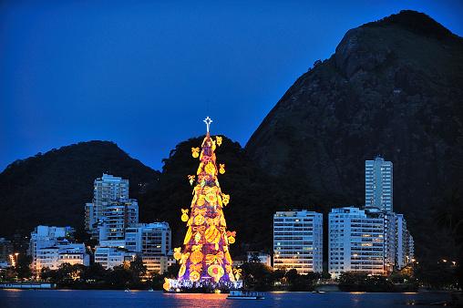 Christmas Tree on Lagoon, Rio de Janeiro, Brazil