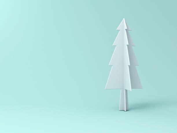 weihnachtsbaum auf pastell hellgrün hintergrund für weihnachts-dekoration mit leerzeichen. 3d-rendering - popup cards stock-fotos und bilder