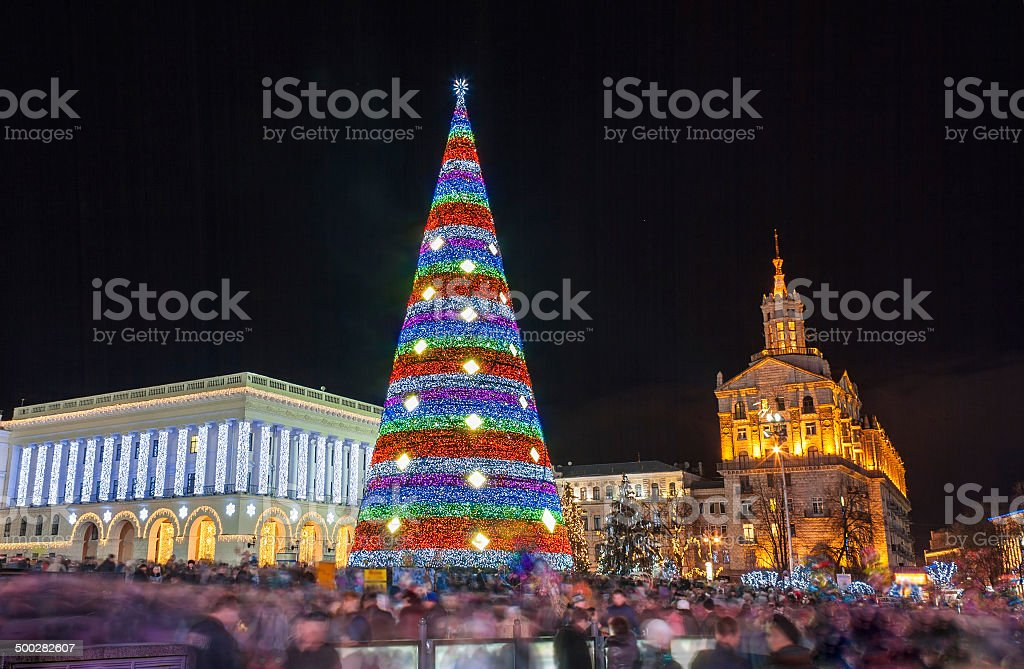 Christmas tree on Maidan Nezalezhnosti in Kiev, Ukraine royalty-free stock photo