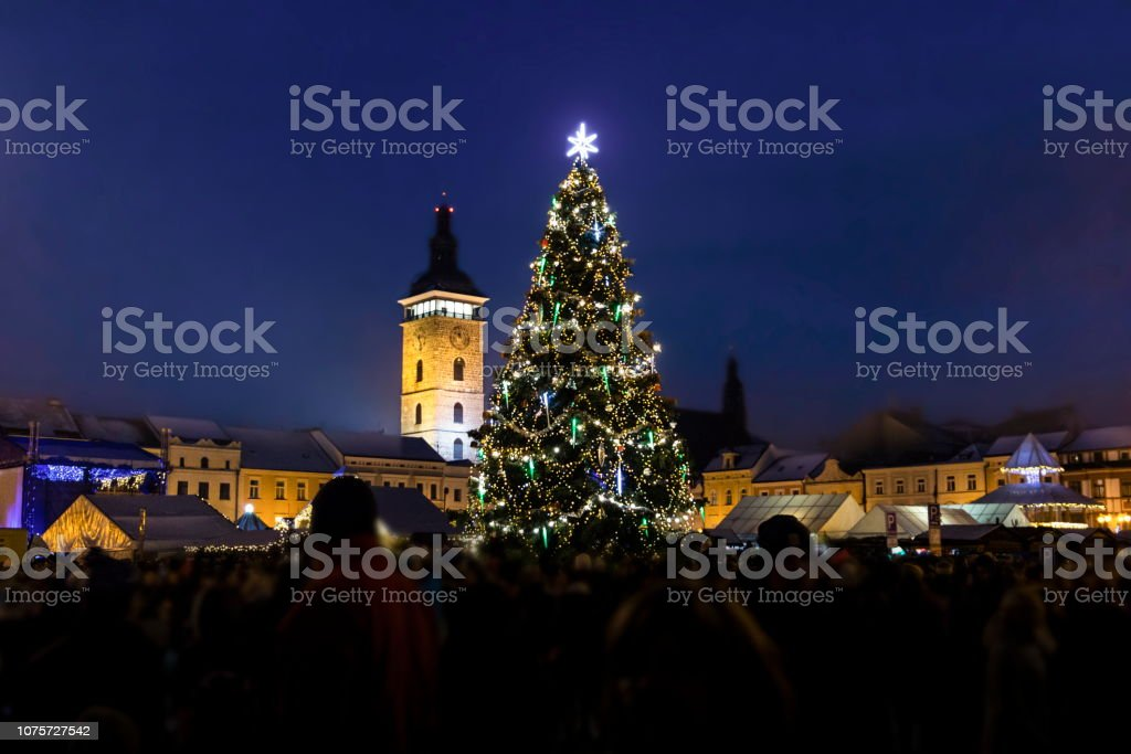 Christmas tree on old town square in Ceske Budejovice at Christmas...