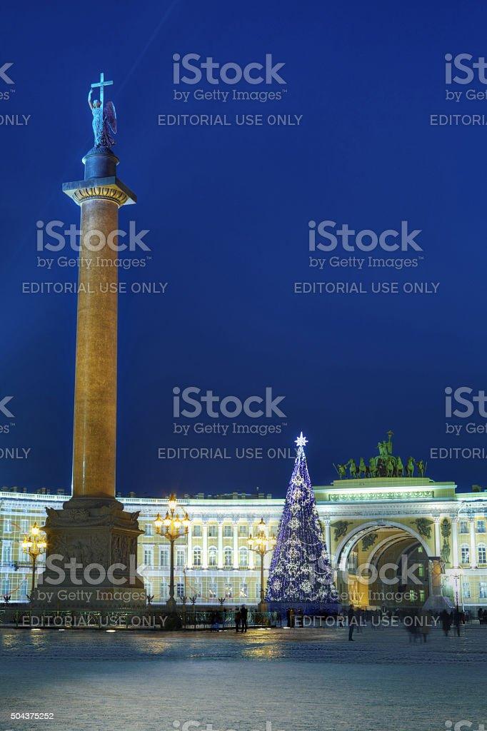 Christmas tree on Palace Square in Saint Petersburg, Russia, night. stock photo
