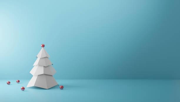 Weihnachtsbaum auf Papier Farbe Hintergrund mit Kopierraum Minimal Stil 3D-Rendern – Foto