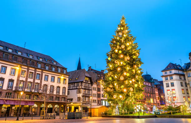Christmas tree on Place Kleber in Strasbourg, France Christmas tree at the famous Christmas Market in Strasbourg - Alsace, France strasbourg stock pictures, royalty-free photos & images