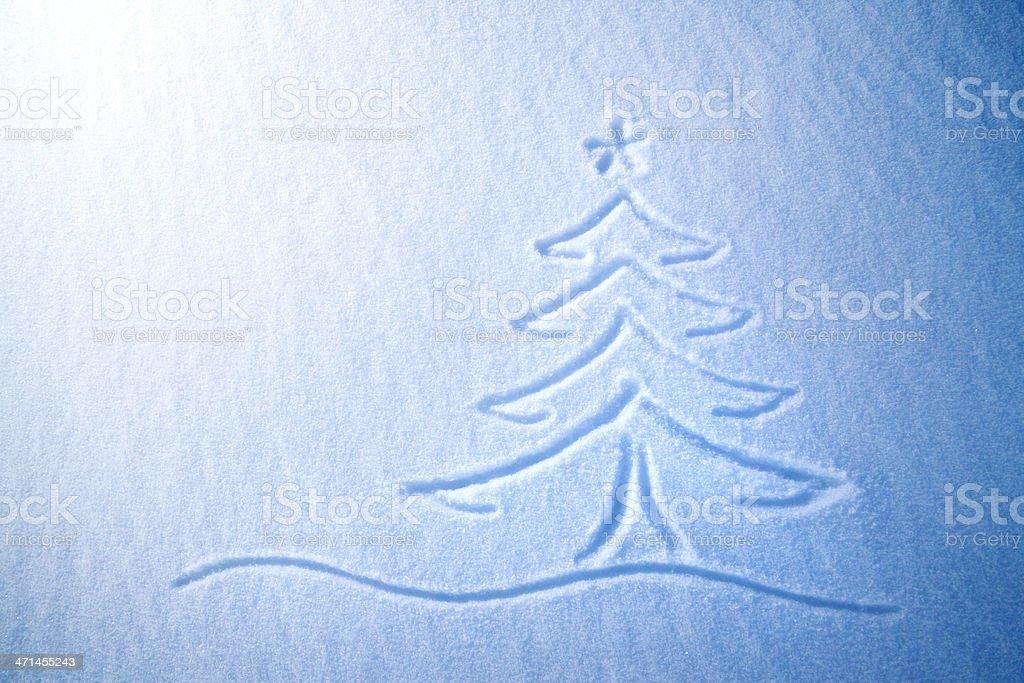 Christmas tree on snow stock photo