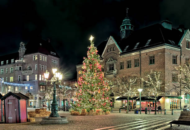 christmas tree on stortorget square of lund in night, sweden - lund stock photos and pictures