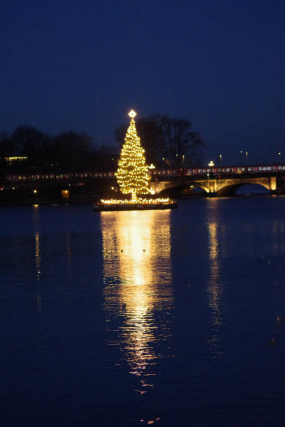 Christmas tree on the Alster stock photo