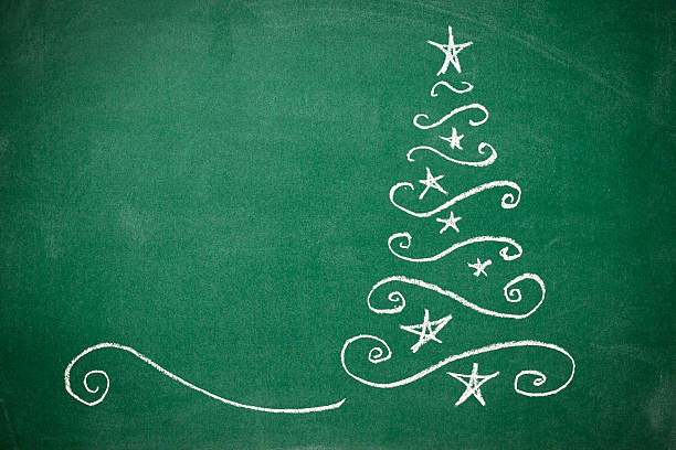 weihnachtsbaum auf die tafel - kreide schriftzüge stock-fotos und bilder