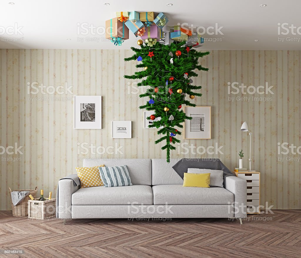 Christmas tree on the ceiling stock photo