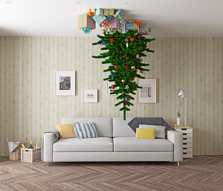 weihnachtsbaum an der decke stockfoto und mehr bilder von. Black Bedroom Furniture Sets. Home Design Ideas