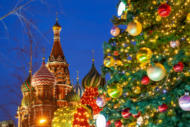 Christmas tree on the Red Square, Moscow stock photo