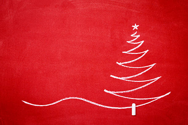 Christmas tree on the redboard stock photo