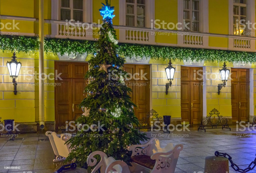 Christmas tree on the street of St. Petersburg, Russia stock photo