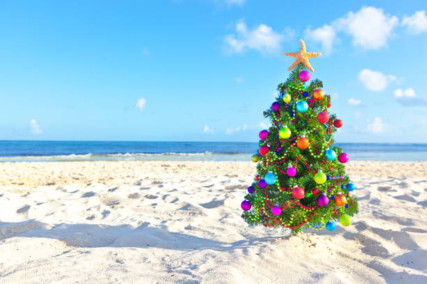 Christmas In Cancun.Christmas Tree On Tropical Beach Of Cancun Mexico Stock