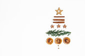 istock Christmas tree on white background. Christmas, winter, new year concept. Flat lay, top view, copy space 1185382406