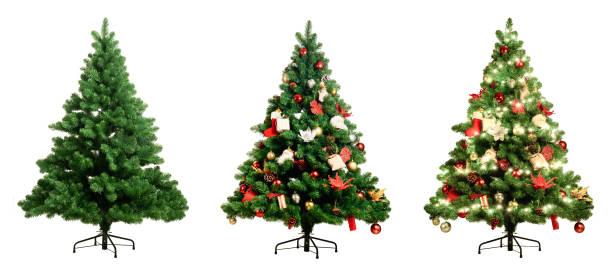 ホワイト バック グラウンド 3 バージョン、装飾なしと松のクリスマス ツリーが装飾され、飾られたクリスマス ツリーを軽くします。 - クリスマスツリー ストックフォトと画像