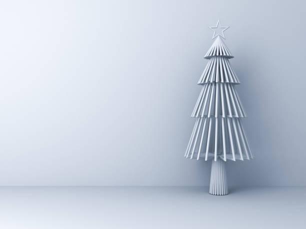 weihnachtsbaum auf weißen raumhintergrund für weihnachts-dekoration mit leerzeichen - popup cards stock-fotos und bilder