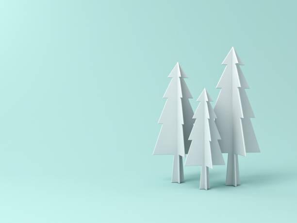 arbre de noël ou de pins sur fond de couleur pastel vert clair pour la décoration de noël avec espace vide. rendu 3d - origami photos et images de collection