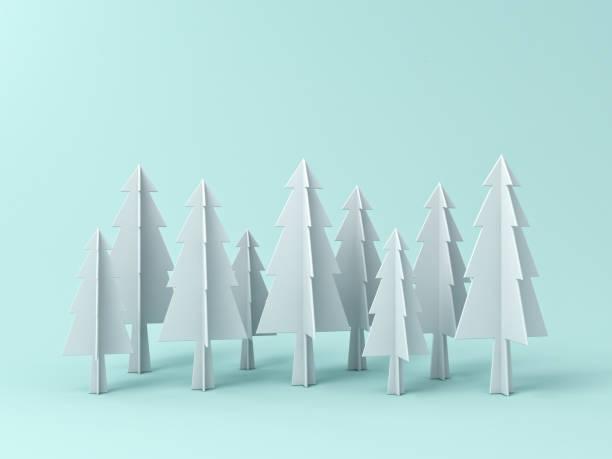 weihnachtsbaum oder kiefern auf pastell hellgrün hintergrund für weihnachts-dekoration mit leerzeichen. 3d-rendering - popup cards stock-fotos und bilder