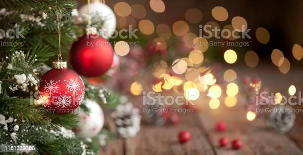 Photo of Christmas Tree, Ornaments and Defocused Lights Background
