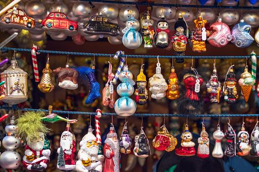 Christmas tree ornaments at Christmas market winter wonderland of London