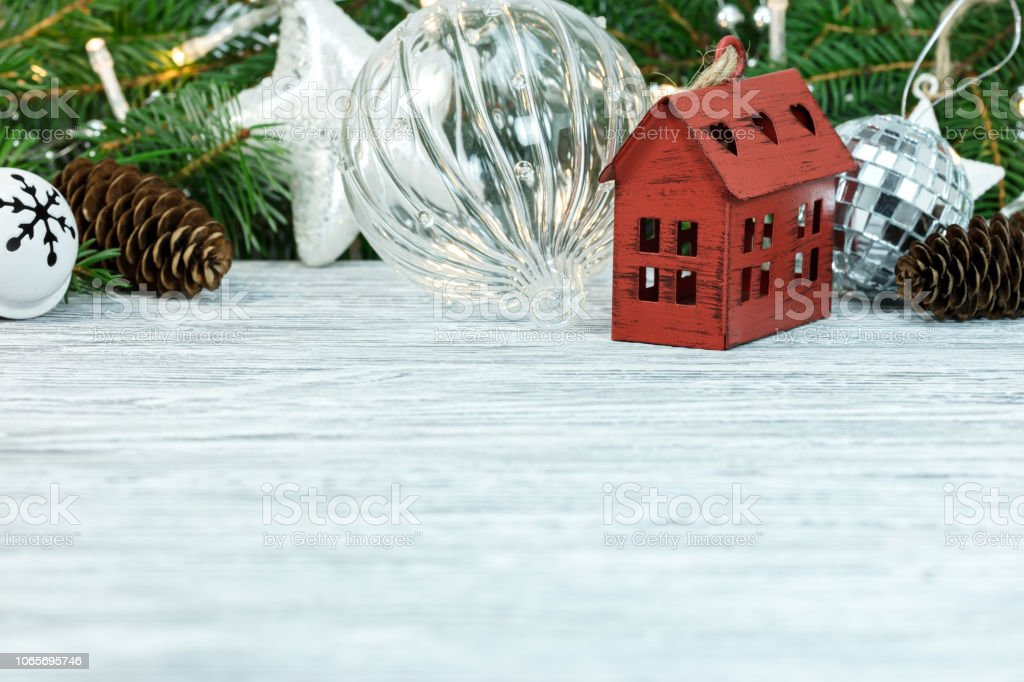 Christmas Tree Ornaments On White Wooden Desk Stock Photo Download Image Now Istock