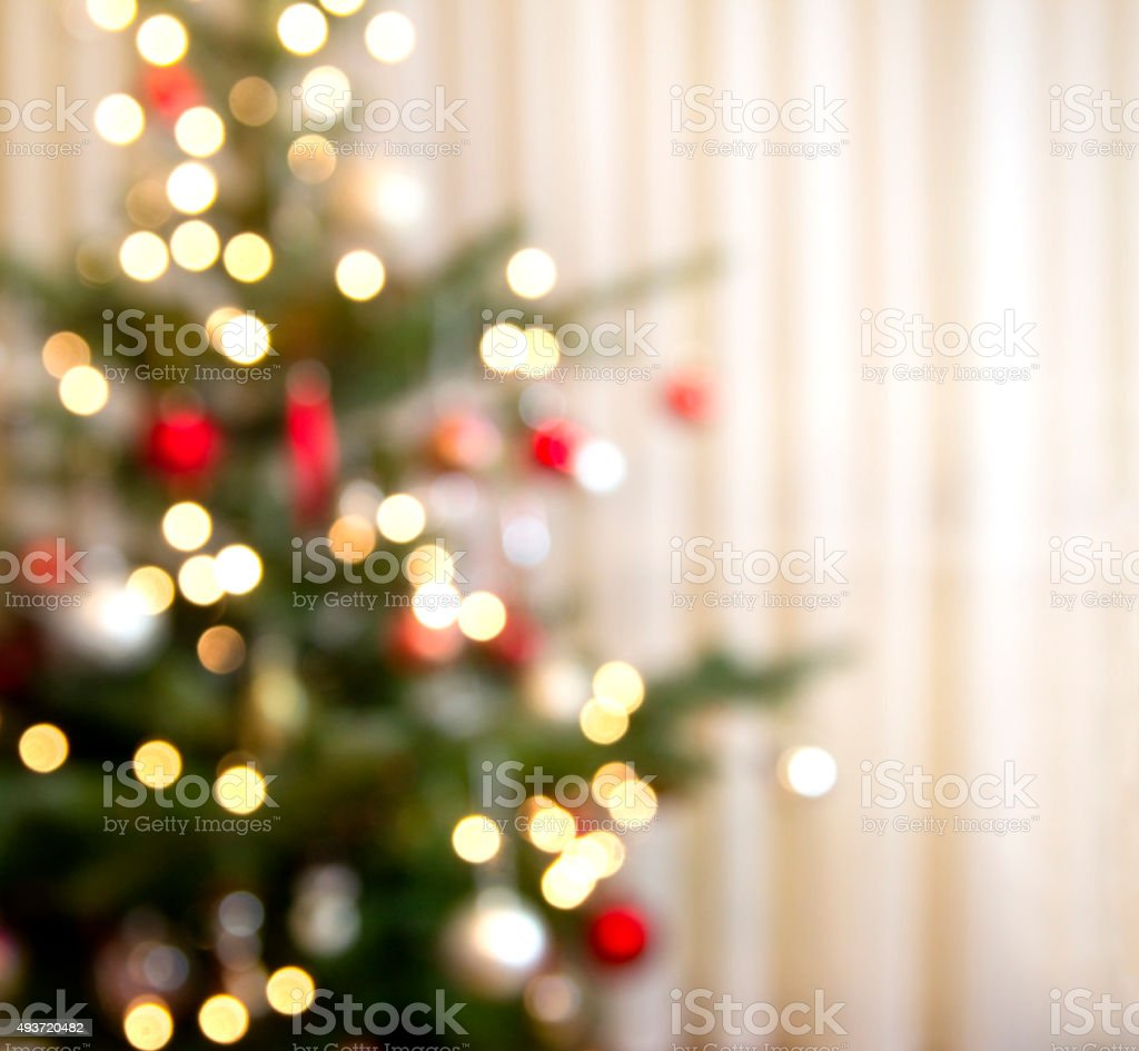 christmas tree out of focus stock photo