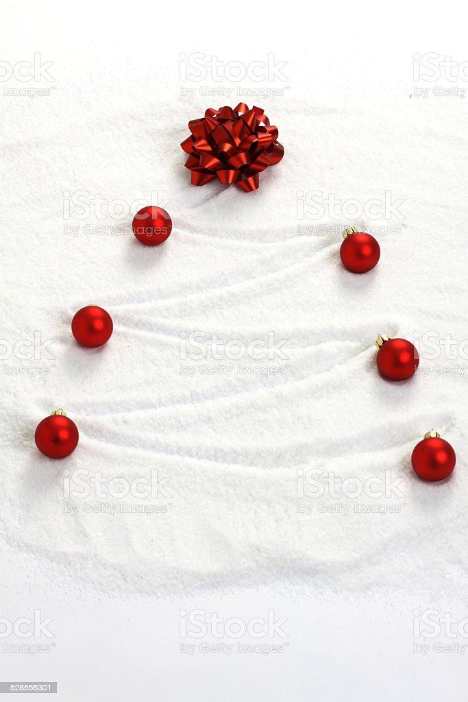 Peinture Darbre De Noel Dans La Neige Avec Rouge Arc Et Noel Boules