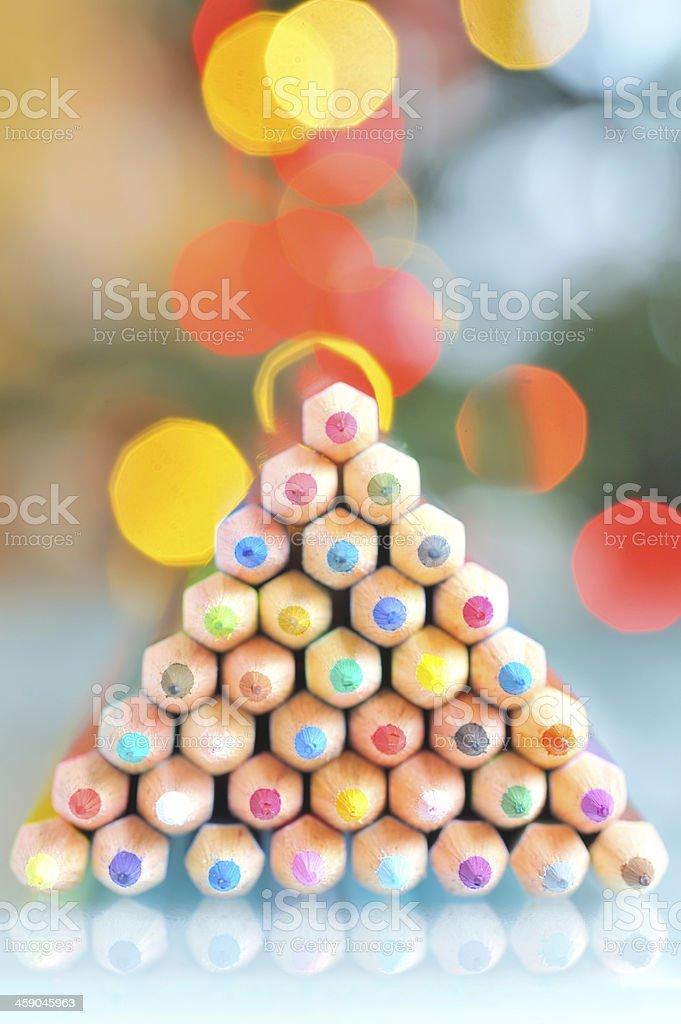 christmas tree pencils stock photo