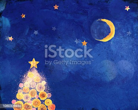 Painted night scene with christmas tree, moon, clouds and stars. All paintings are made by photographer.