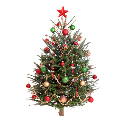 Christmas tree decorated in traditional red and green baubles with beaded garland and a star tree topper
