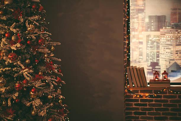 weihnachtsbaum. - glitter farbige wände stock-fotos und bilder