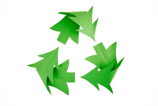 christmas tree recycling symbol on white - recycling symbol stock photos and pictures