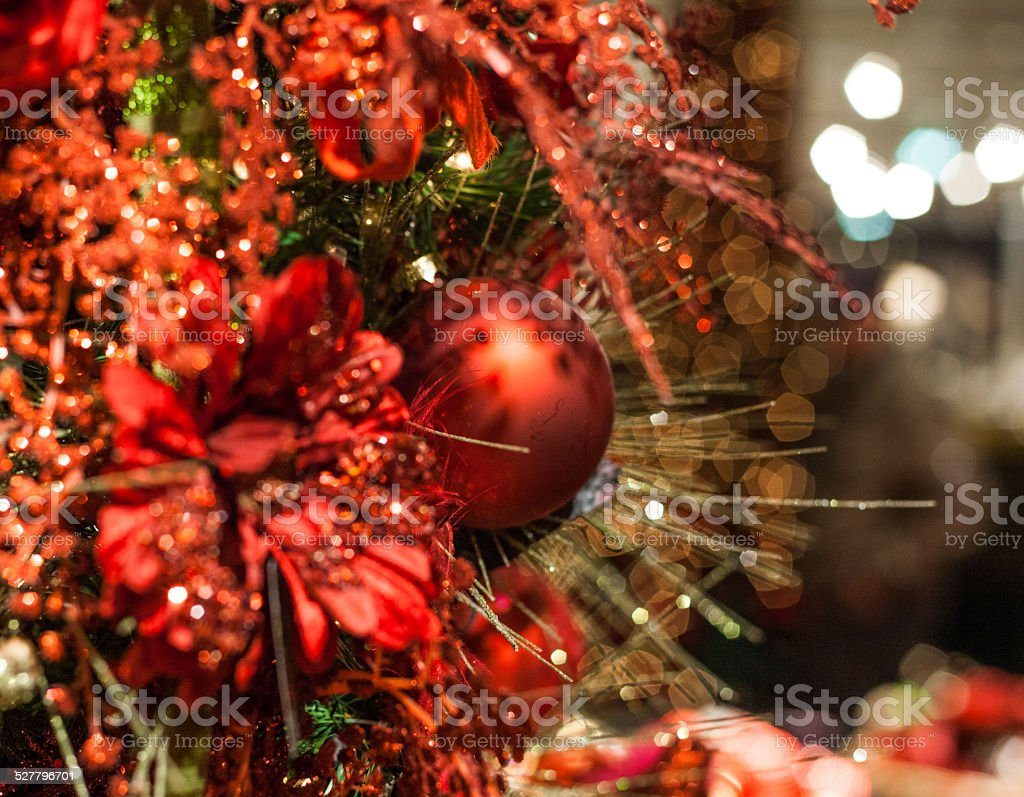 christmas tree red decoration stock photo