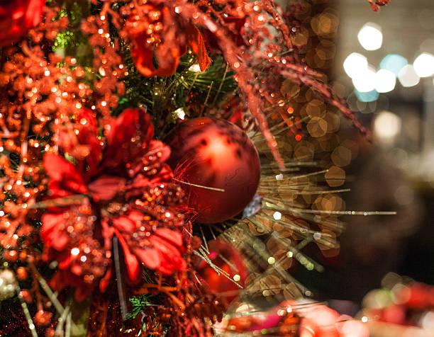 christmas tree red decoration stock photo