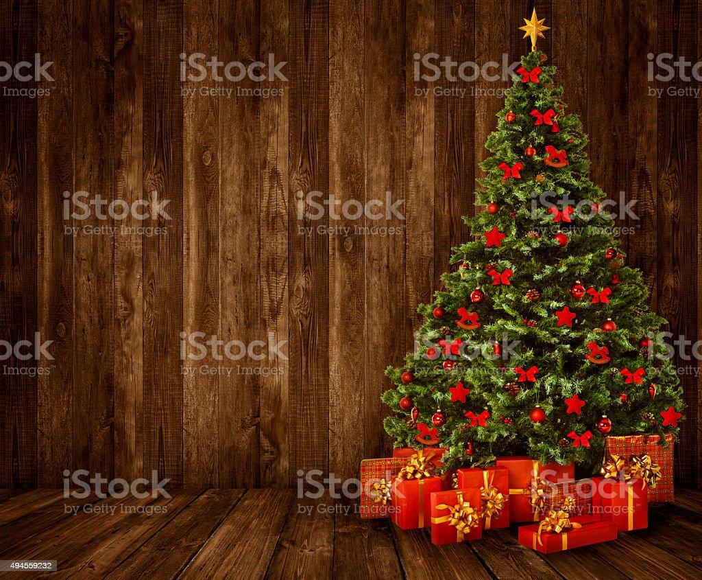 christmas tree room background wood wall floor interior wooden