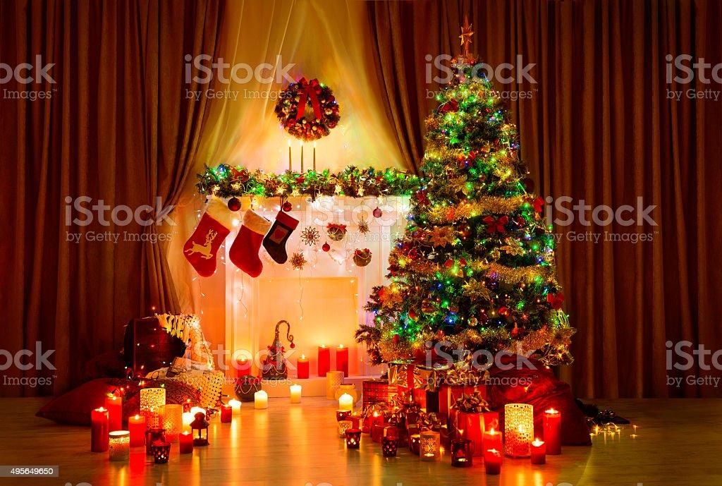Christmas Tree Room, Xmas Home Night Interior, Fireplace Lights Decoration - Royalty-free 2015 Stock Photo