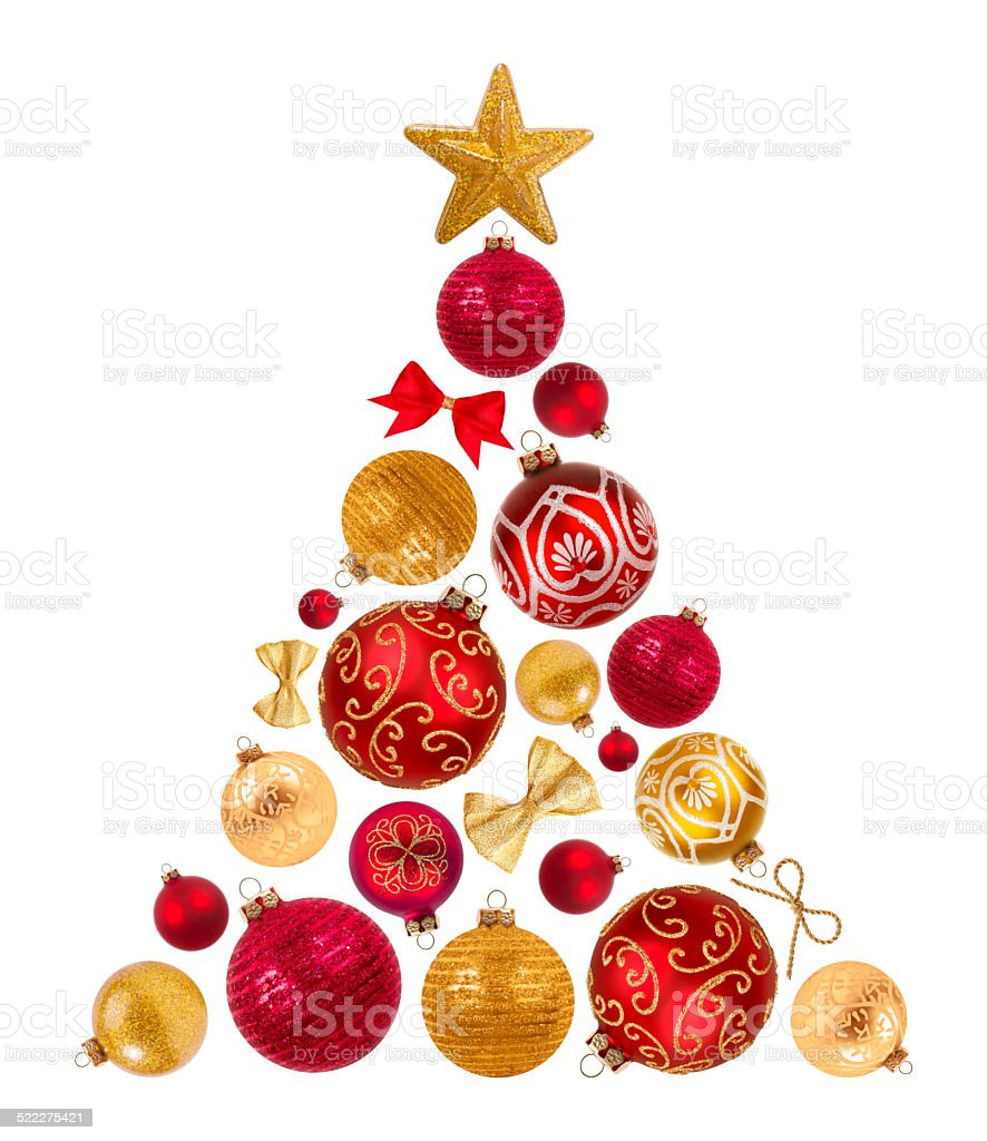 Christmas tree shape from decorative balls, bows and star stock photo