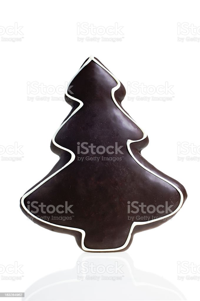 Christmas Tree Shaped Chocolate Cake. stock photo