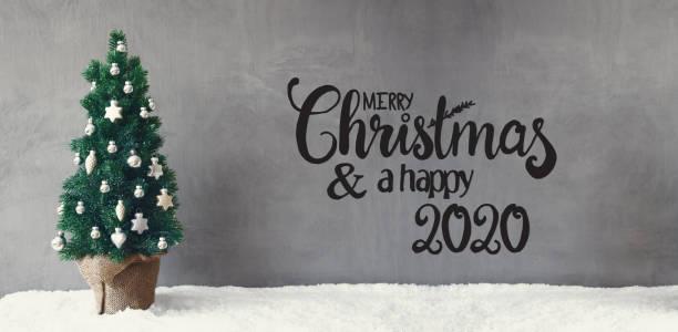 Weihnachtsbaum, Silber Ball, Schnee, Frohe Weihnachten und ein glückliches 2020 – Foto