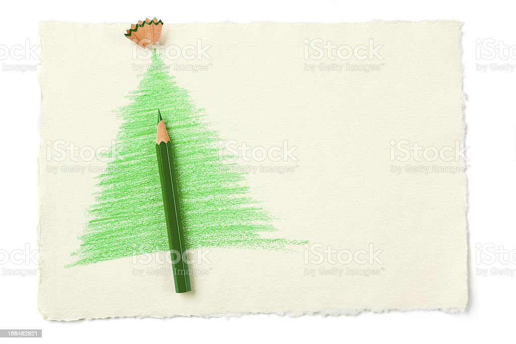 Christmas Tree Sketch with green pencil stock photo